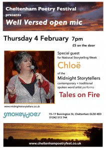 Poster for Chloe's 4 Feb guest spot at Well Versed open mic night
