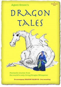 Yellow book cover with dragon drawing and photo of Agent Green the Dragon Whisperer
