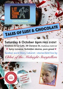 Flyer for Tales of Lust & Chocolate 6 Oct 2018 6pm