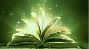 Image of big book with pages ruffling, surrounded by magical sparkles and green light